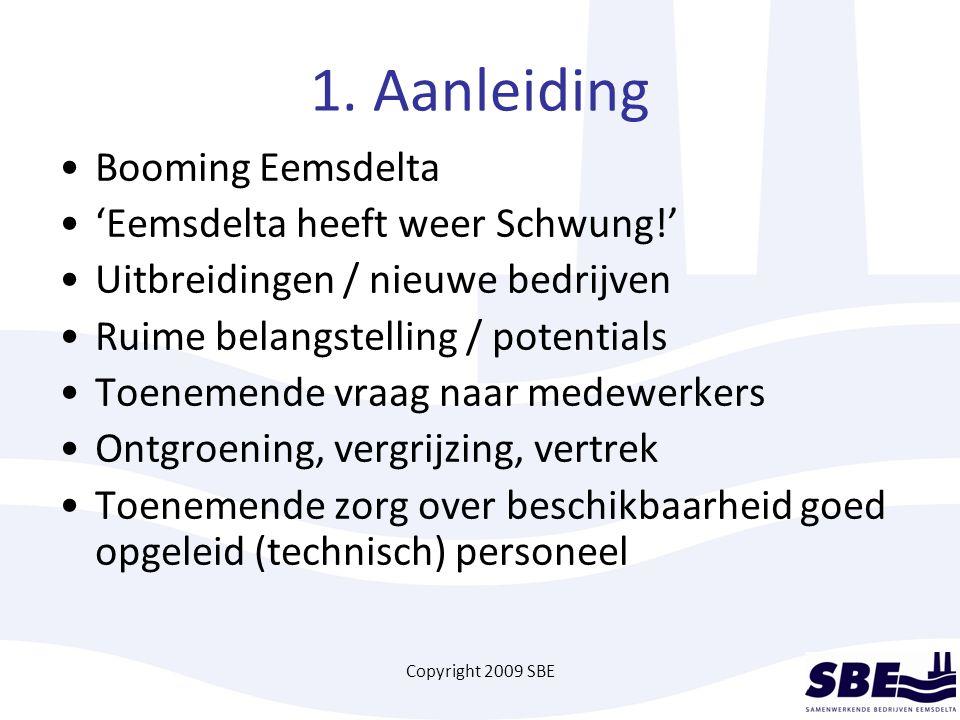 Copyright 2009 SBE 1. Aanleiding Booming Eemsdelta 'Eemsdelta heeft weer Schwung!' Uitbreidingen / nieuwe bedrijven Ruime belangstelling / potentials