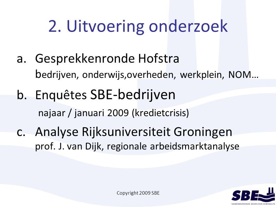 Copyright 2009 SBE 2. Uitvoering onderzoek a.Gesprekkenronde Hofstra b edrijven, onderwijs,overheden, werkplein, NOM… b.Enquêtes SBE-bedrijven najaar
