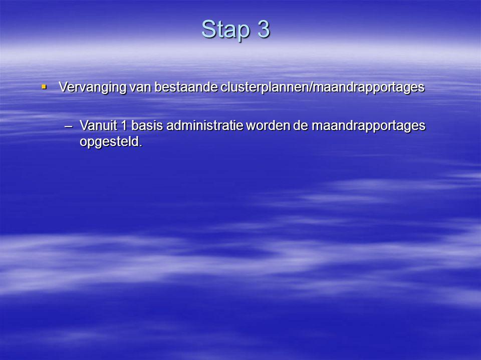 Stap 3 Stap 3  Vervanging van bestaande clusterplannen/maandrapportages –Vanuit 1 basis administratie worden de maandrapportages opgesteld.