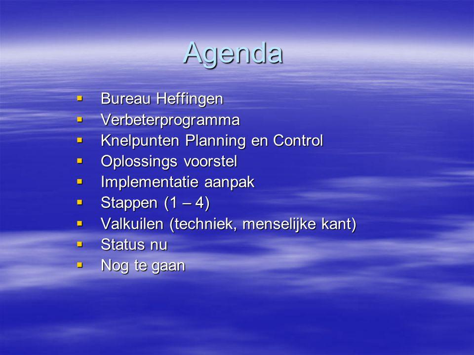 Agenda  Bureau Heffingen  Verbeterprogramma  Knelpunten Planning en Control  Oplossings voorstel  Implementatie aanpak  Stappen (1 – 4)  Valkuilen (techniek, menselijke kant)  Status nu  Nog te gaan