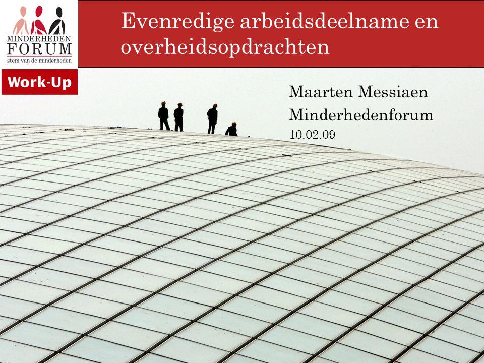 Inleiding Minderhedenforum = koepel allochtone verenigingen advies over positie van minderheden op de arbeidsmarkt erkend door de Vlaamse regering, sociale partners en VDAB Overheidsopdrachten.