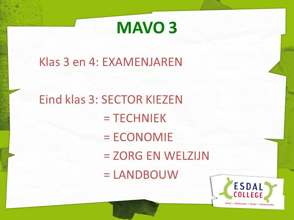 MAVO 3 Klas 3 en 4: EXAMENJAREN Eind klas 3: SECTOR KIEZEN = TECHNIEK = ECONOMIE = ZORG EN WELZIJN = LANDBOUW
