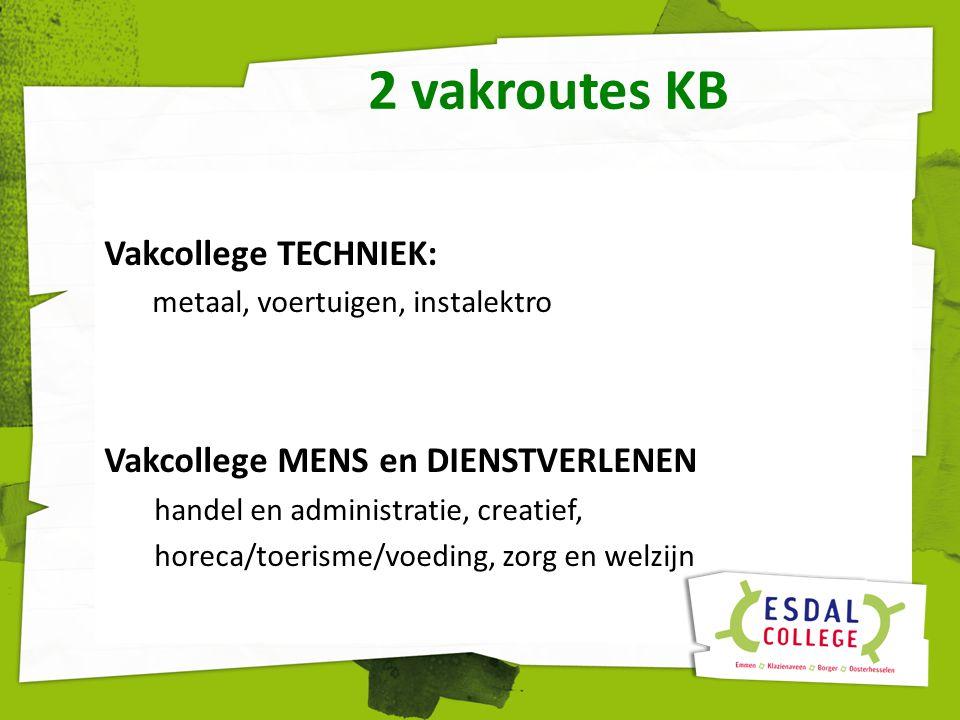 2 vakroutes KB Vakcollege TECHNIEK: metaal, voertuigen, instalektro Vakcollege MENS en DIENSTVERLENEN handel en administratie, creatief, horeca/toeris