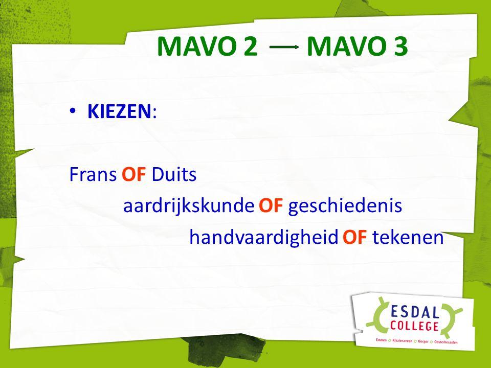 MAVO 2 MAVO 3 KIEZEN: Frans OF Duits aardrijkskunde OF geschiedenis handvaardigheid OF tekenen