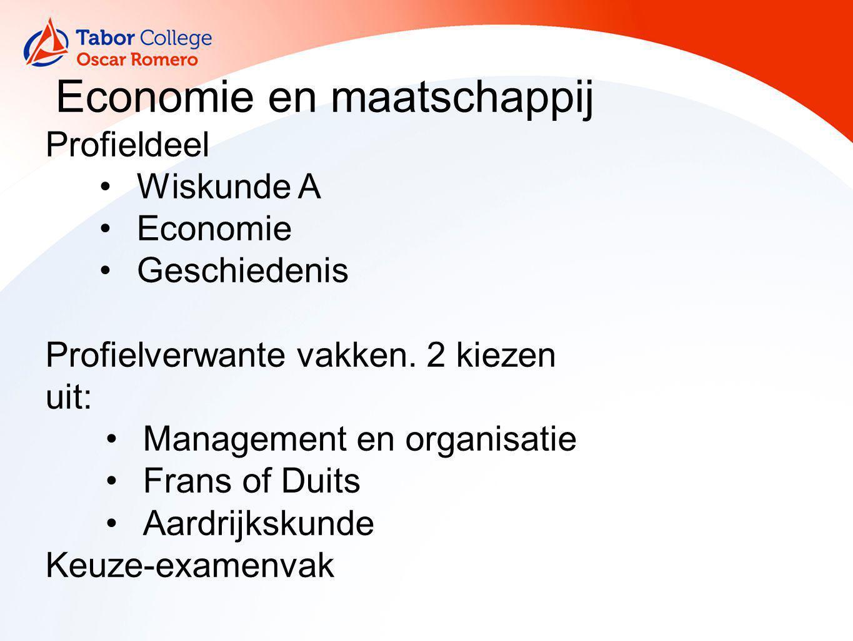 Economie en maatschappij Profieldeel Wiskunde A Economie Geschiedenis Profielverwante vakken. 2 kiezen uit: Management en organisatie Frans of Duits A