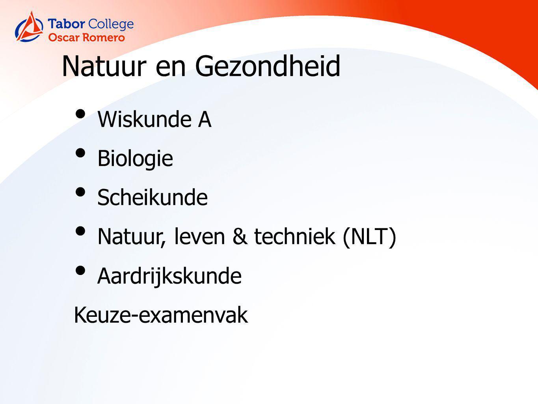 Natuur en Gezondheid Wiskunde A Biologie Scheikunde Natuur, leven & techniek (NLT) Aardrijkskunde Keuze-examenvak