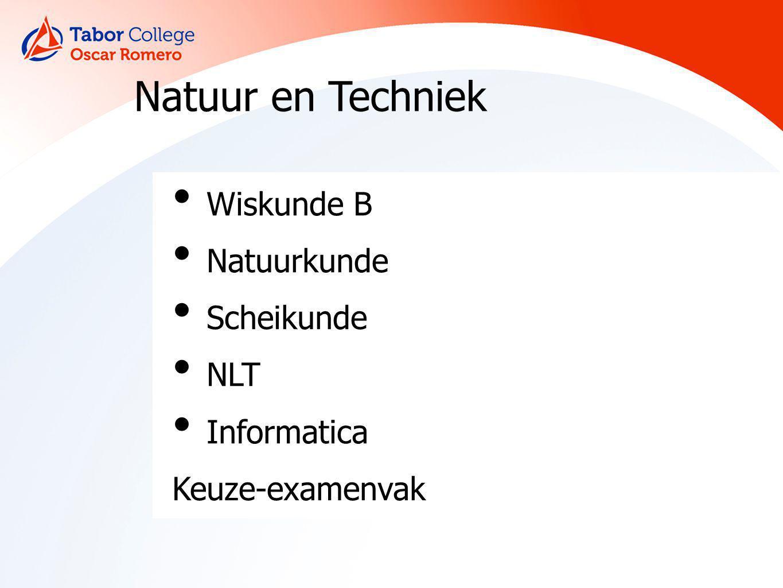 Natuur en Techniek Wiskunde B Natuurkunde Scheikunde NLT Informatica Keuze-examenvak