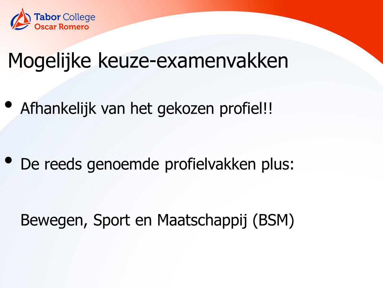 Mogelijke keuze-examenvakken Afhankelijk van het gekozen profiel!! De reeds genoemde profielvakken plus: Bewegen, Sport en Maatschappij (BSM)