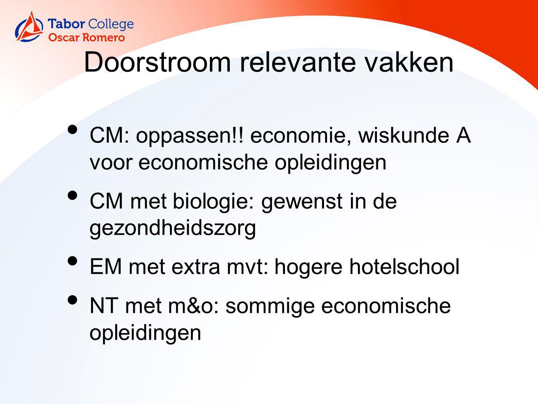Doorstroom relevante vakken CM: oppassen!! economie, wiskunde A voor economische opleidingen CM met biologie: gewenst in de gezondheidszorg EM met ext