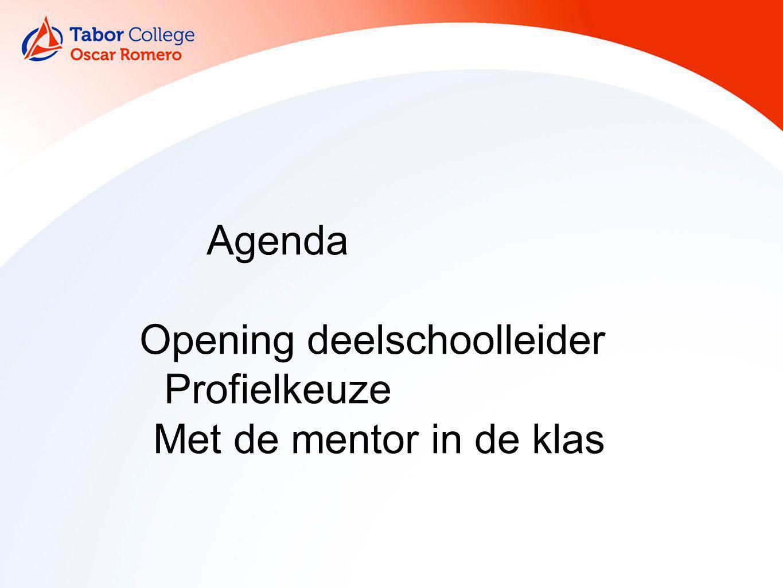 Agenda Opening deelschoolleider Profielkeuze Met de mentor in de klas