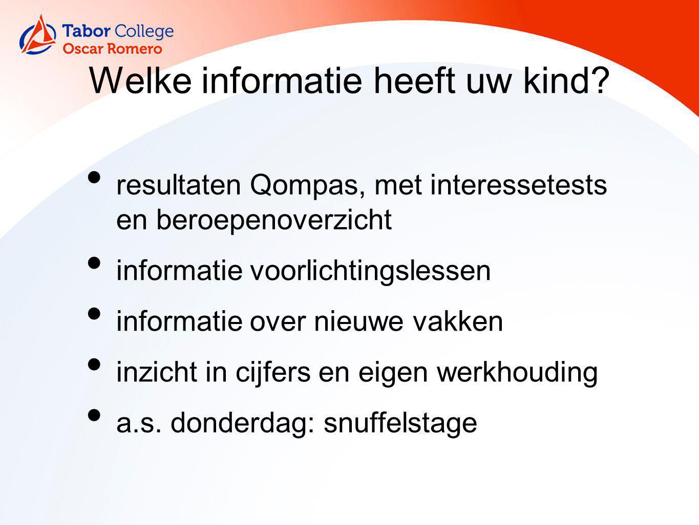 Welke informatie heeft uw kind? resultaten Qompas, met interessetests en beroepenoverzicht informatie voorlichtingslessen informatie over nieuwe vakke