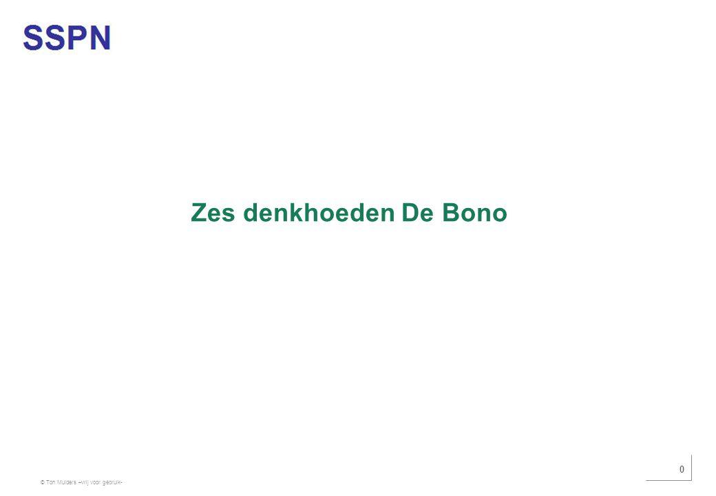 © Ton Mulders –vrij voor gebruik- 0 Zes denkhoeden De Bono