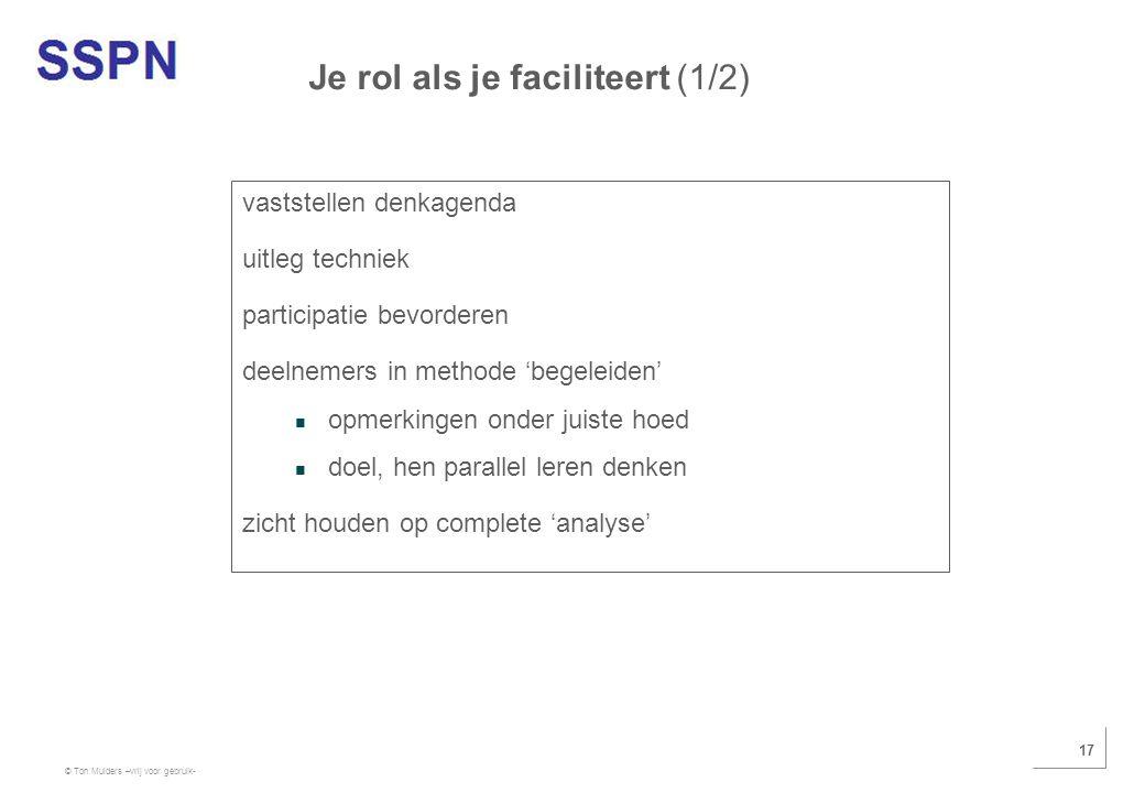 © Ton Mulders –vrij voor gebruik- 17 vaststellen denkagenda uitleg techniek participatie bevorderen deelnemers in methode 'begeleiden' opmerkingen ond