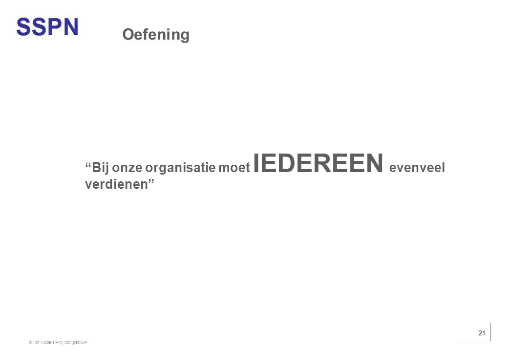 """© Ton Mulders –vrij voor gebruik- 21 """"Bij onze organisatie moet IEDEREEN evenveel verdienen"""" Oefening"""