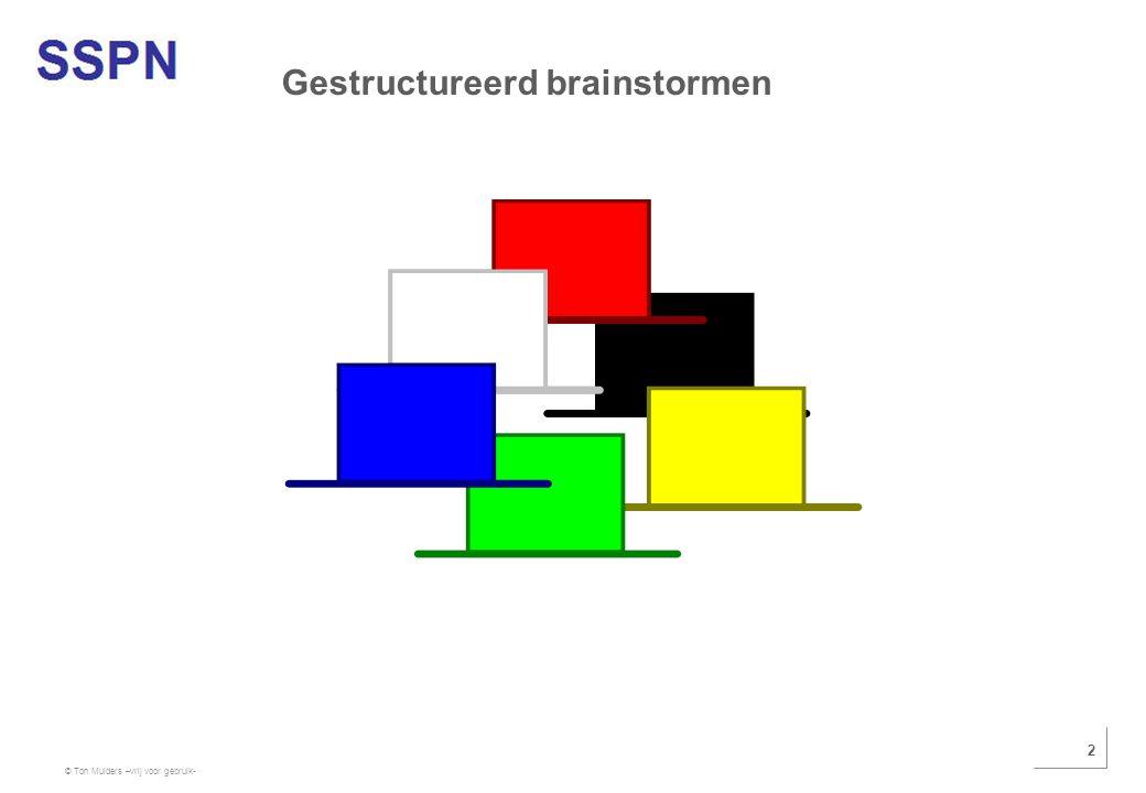 © Ton Mulders –vrij voor gebruik- 2 Gestructureerd brainstormen