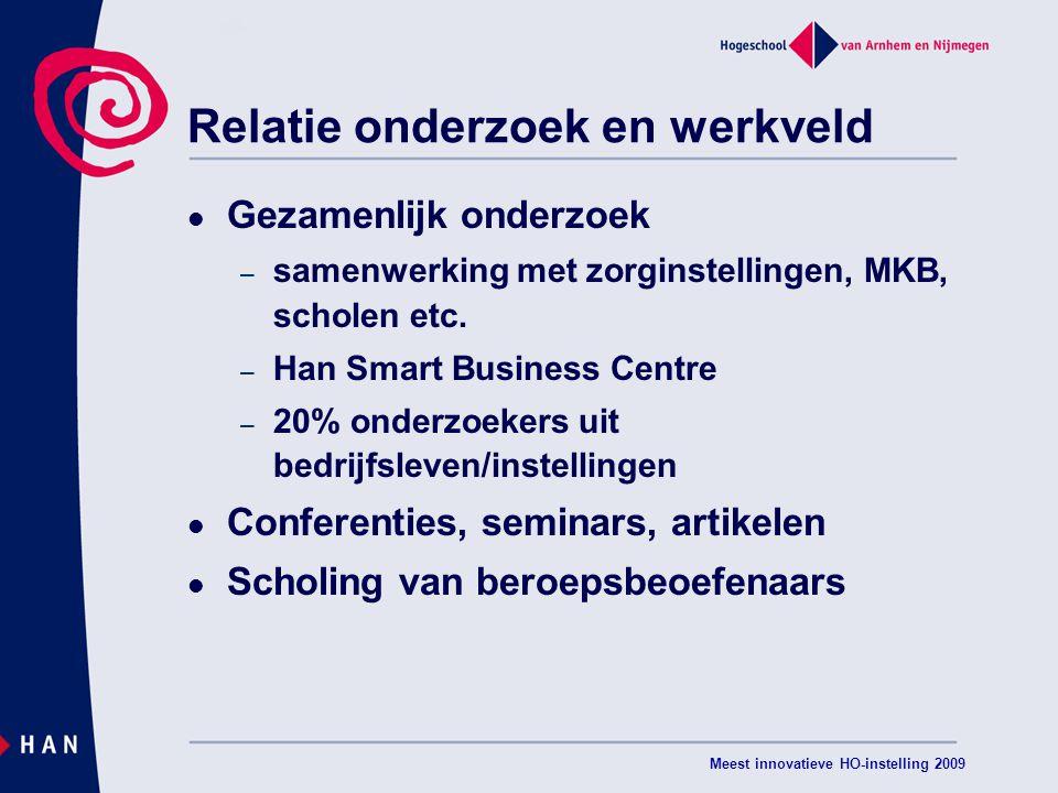 Meest innovatieve HO-instelling 2009 Relatie onderzoek en werkveld Gezamenlijk onderzoek – samenwerking met zorginstellingen, MKB, scholen etc.
