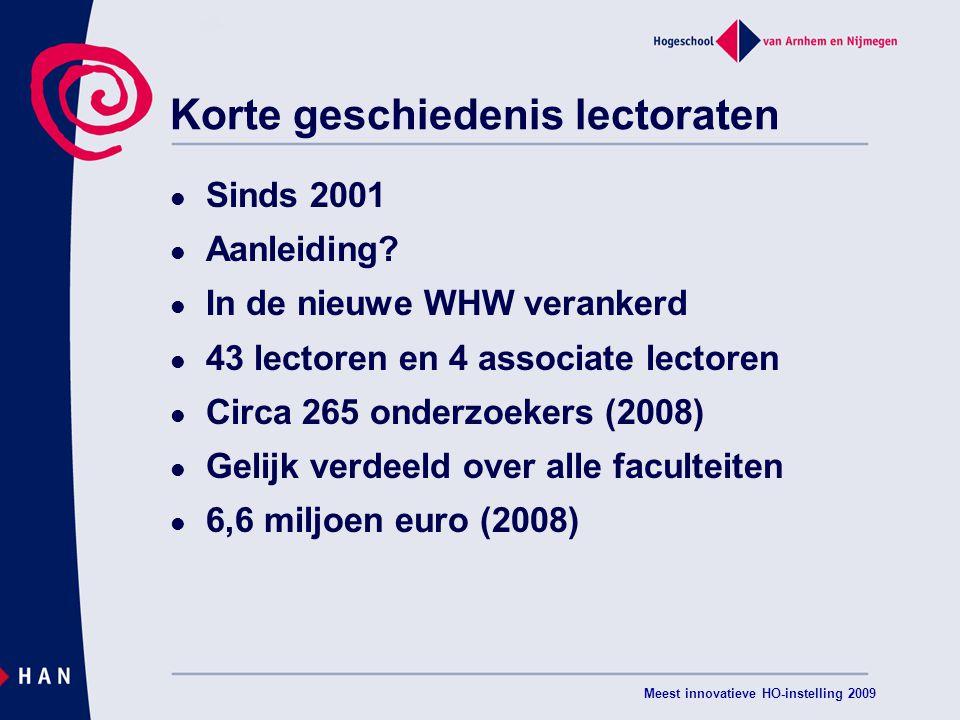 Meest innovatieve HO-instelling 2009 Korte geschiedenis lectoraten Sinds 2001 Aanleiding.
