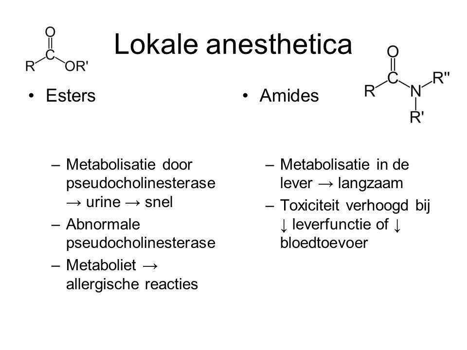 Lokale anesthetica Procaïne 0,5% (niet meest effectief, allergische reacties) 2-chloroprocaïne 0,75%, 60 ml (been) (tromboflebitis) Tetracaïne 0,1% (max 3mg/kg) (lange nawerking) Lidocaïne 0,5%, 2-3 mg/kg lg (arm) en 5-6 mg/kg lg (been) Prilocaïne 0,5%, +/- 40 ml (arm), 80 ml (been) Bupivacaïne 0,25% (max 3mg/kg)