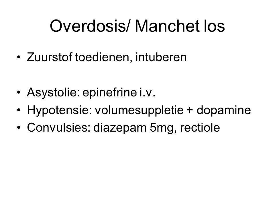 Overdosis/ Manchet los Zuurstof toedienen, intuberen Asystolie: epinefrine i.v. Hypotensie: volumesuppletie + dopamine Convulsies: diazepam 5mg, recti