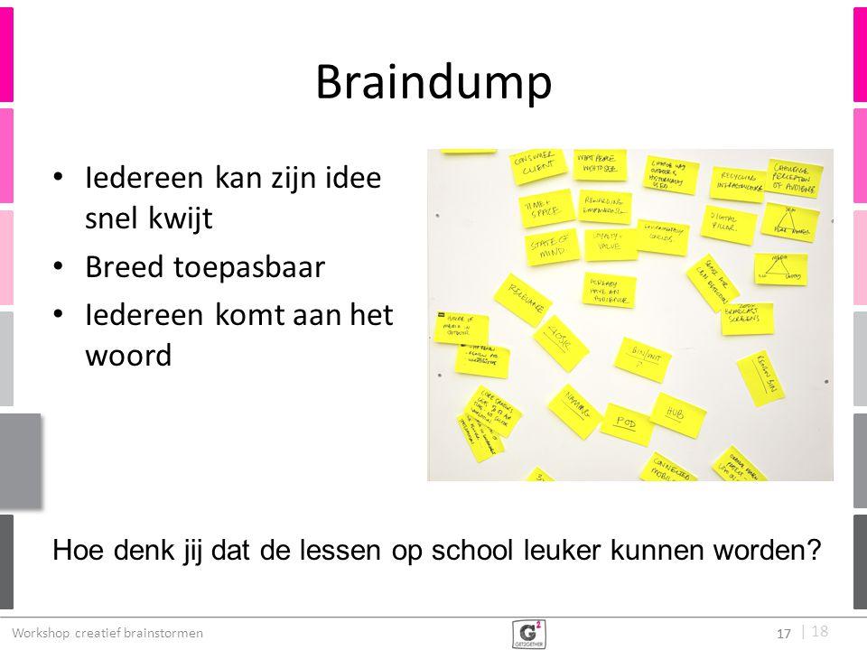   18 Braindump Iedereen kan zijn idee snel kwijt Breed toepasbaar Iedereen komt aan het woord 17 Workshop creatief brainstormen 17 Hoe denk jij dat de