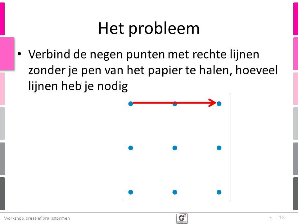 | 18 Het probleem Verbind de negen punten met rechte lijnen zonder je pen van het papier te halen, hoeveel lijnen heb je nodig Workshop creatief brain