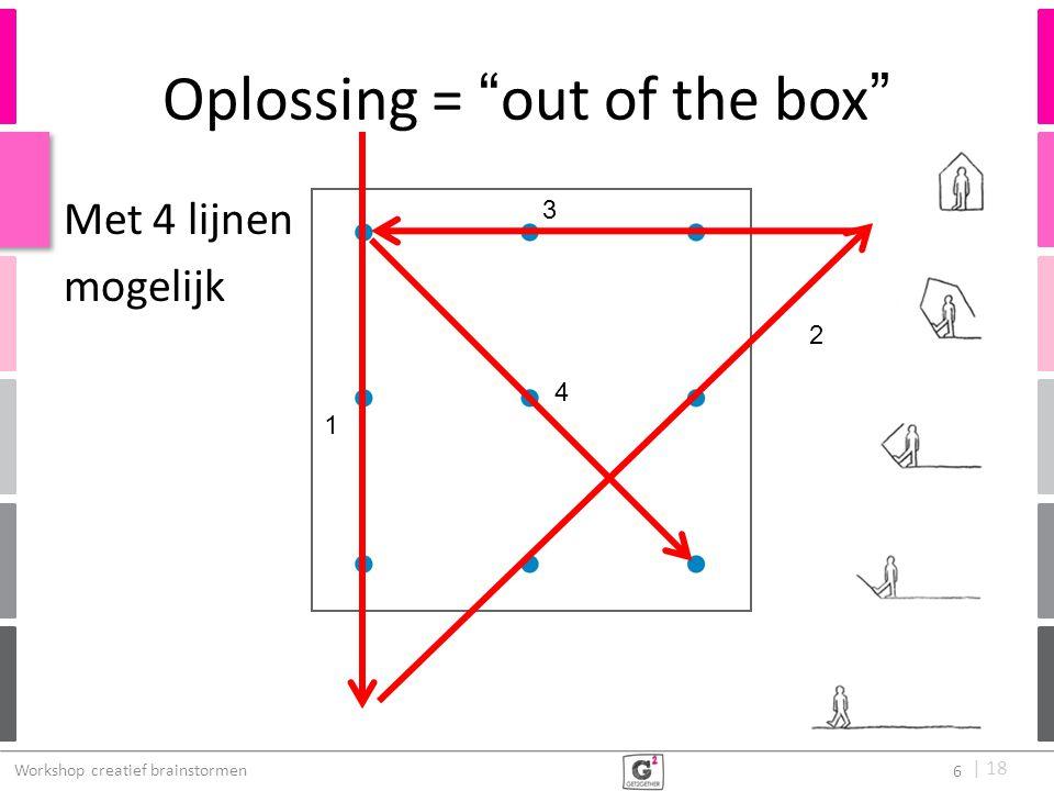 """  18 Oplossing = """"out of the box"""" 1 3 4 Workshop creatief brainstormen 6 Met 4 lijnen mogelijk 2"""