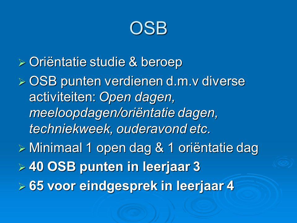 OSB  Oriëntatie studie & beroep  OSB punten verdienen d.m.v diverse activiteiten: Open dagen, meeloopdagen/oriëntatie dagen, techniekweek, ouderavon