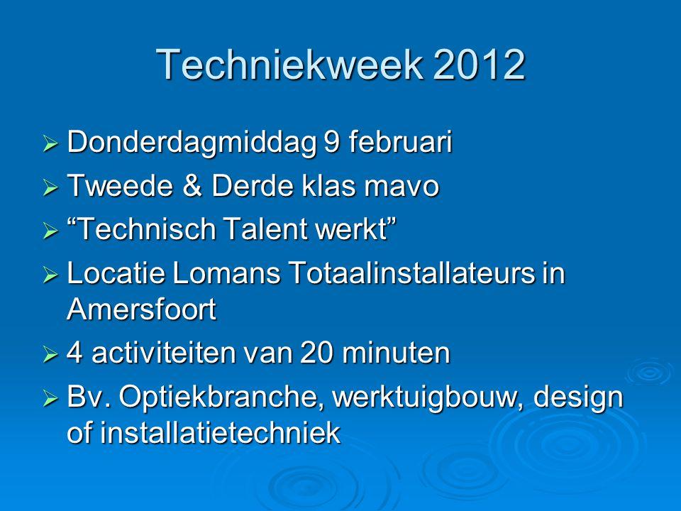 """Techniekweek 2012  Donderdagmiddag 9 februari  Tweede & Derde klas mavo  """"Technisch Talent werkt""""  Locatie Lomans Totaalinstallateurs in Amersfoor"""