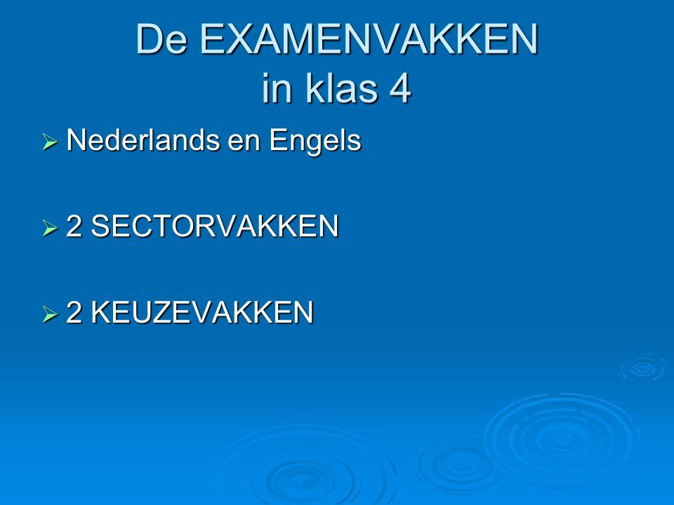 De EXAMENVAKKEN in klas 4  Nederlands en Engels  2 SECTORVAKKEN  2 KEUZEVAKKEN