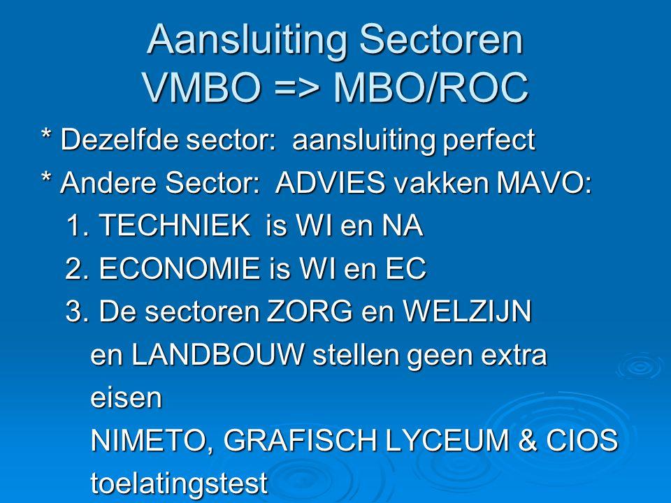 Aansluiting Sectoren VMBO => MBO/ROC * Dezelfde sector: aansluiting perfect * Andere Sector: ADVIES vakken MAVO: 1. TECHNIEK is WI en NA 1. TECHNIEK i
