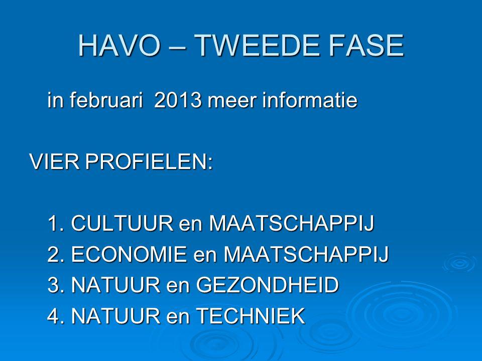 HAVO – TWEEDE FASE in februari 2013 meer informatie VIER PROFIELEN: 1. CULTUUR en MAATSCHAPPIJ 1. CULTUUR en MAATSCHAPPIJ 2. ECONOMIE en MAATSCHAPPIJ