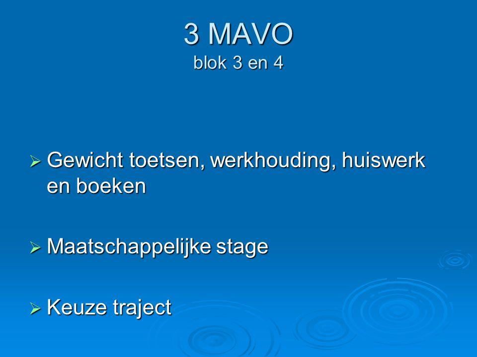 3 MAVO blok 3 en 4  Gewicht toetsen, werkhouding, huiswerk en boeken  Maatschappelijke stage  Keuze traject