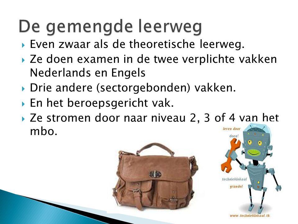  Even zwaar als de theoretische leerweg.  Ze doen examen in de twee verplichte vakken Nederlands en Engels  Drie andere (sectorgebonden) vakken. 