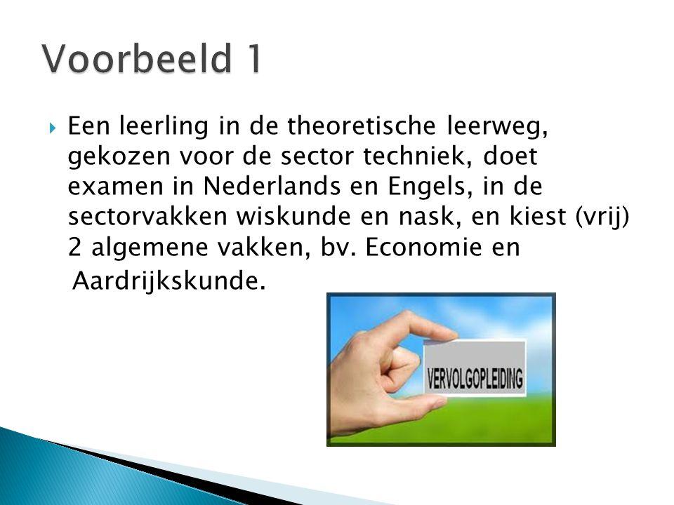  Een leerling in de theoretische leerweg, gekozen voor de sector techniek, doet examen in Nederlands en Engels, in de sectorvakken wiskunde en nask, en kiest (vrij) 2 algemene vakken, bv.