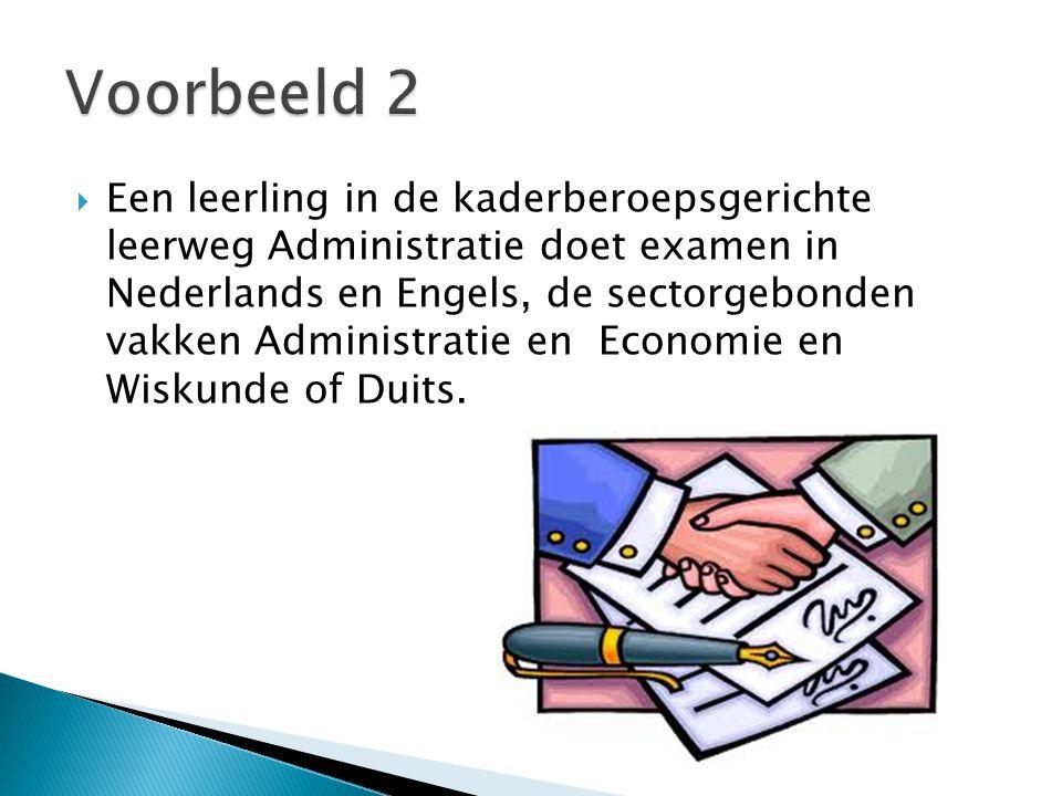  Een leerling in de kaderberoepsgerichte leerweg Administratie doet examen in Nederlands en Engels, de sectorgebonden vakken Administratie en Economie en Wiskunde of Duits.