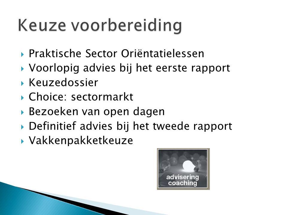  Praktische Sector Oriëntatielessen  Voorlopig advies bij het eerste rapport  Keuzedossier  Choice: sectormarkt  Bezoeken van open dagen  Definitief advies bij het tweede rapport  Vakkenpakketkeuze