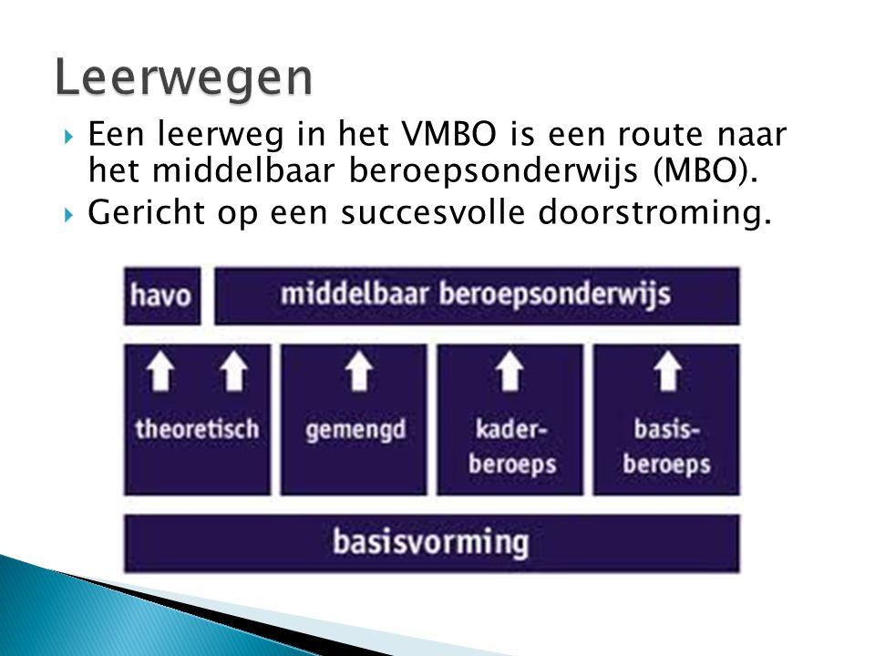  Een leerweg in het VMBO is een route naar het middelbaar beroepsonderwijs (MBO).  Gericht op een succesvolle doorstroming.