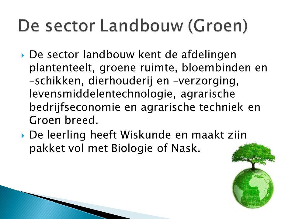  De sector landbouw kent de afdelingen plantenteelt, groene ruimte, bloembinden en –schikken, dierhouderij en –verzorging, levensmiddelentechnologie,
