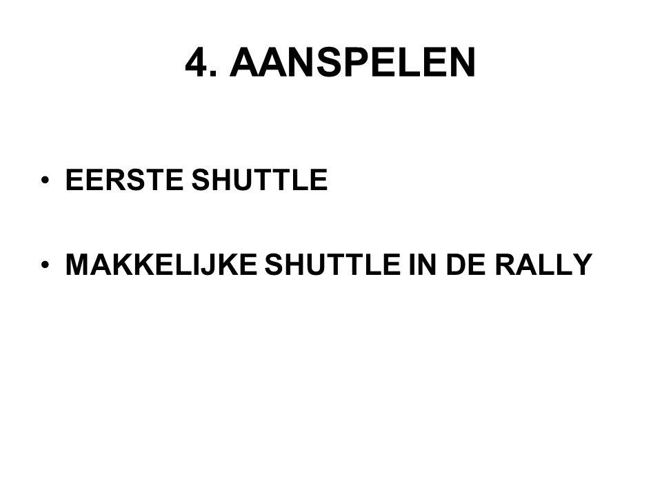 4. AANSPELEN EERSTE SHUTTLE MAKKELIJKE SHUTTLE IN DE RALLY