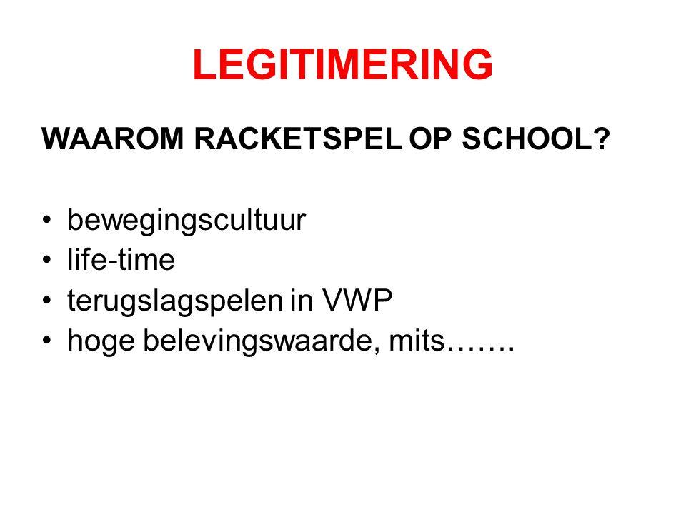 LEGITIMERING WAAROM RACKETSPEL OP SCHOOL? bewegingscultuur life-time terugslagspelen in VWP hoge belevingswaarde, mits…….