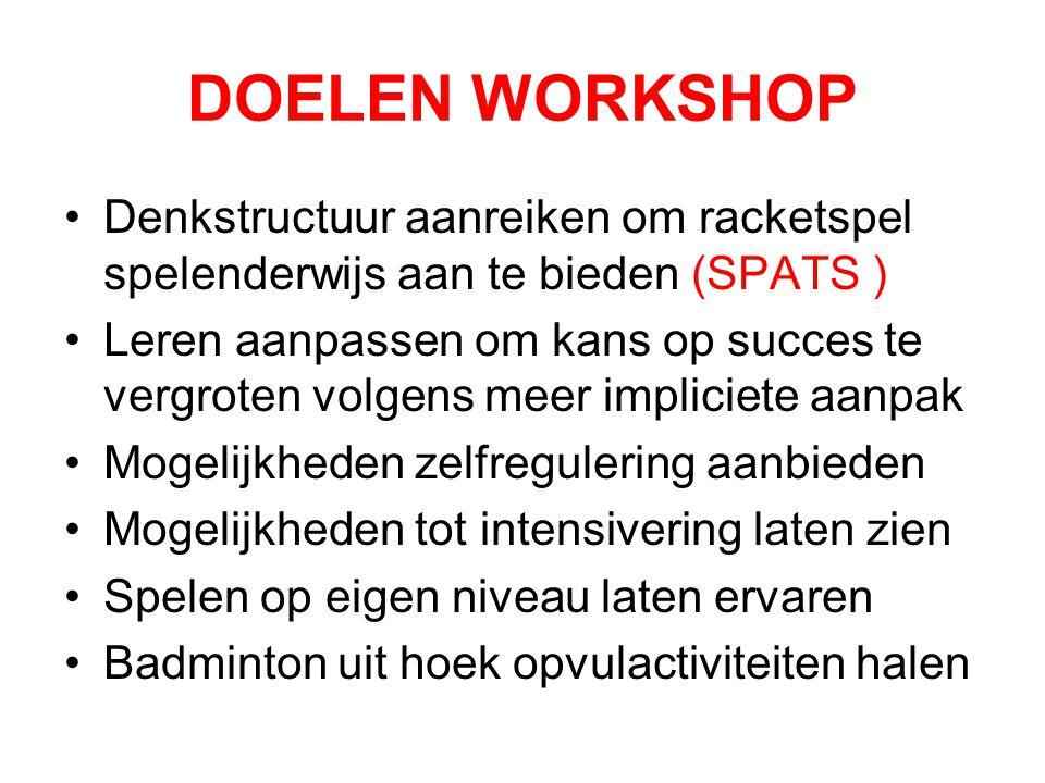 DOELEN WORKSHOP Denkstructuur aanreiken om racketspel spelenderwijs aan te bieden (SPATS ) Leren aanpassen om kans op succes te vergroten volgens meer