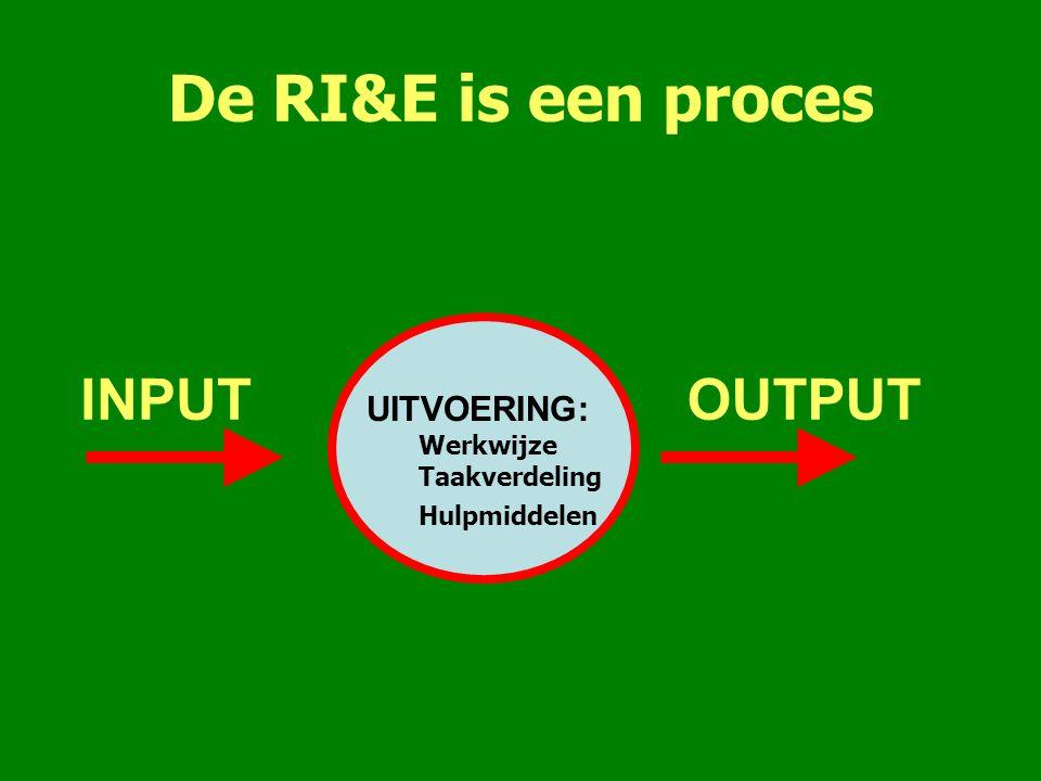 De RI&E is een proces INPUTOUTPUT UITVOERING: Werkwijze Taakverdeling Hulpmiddelen