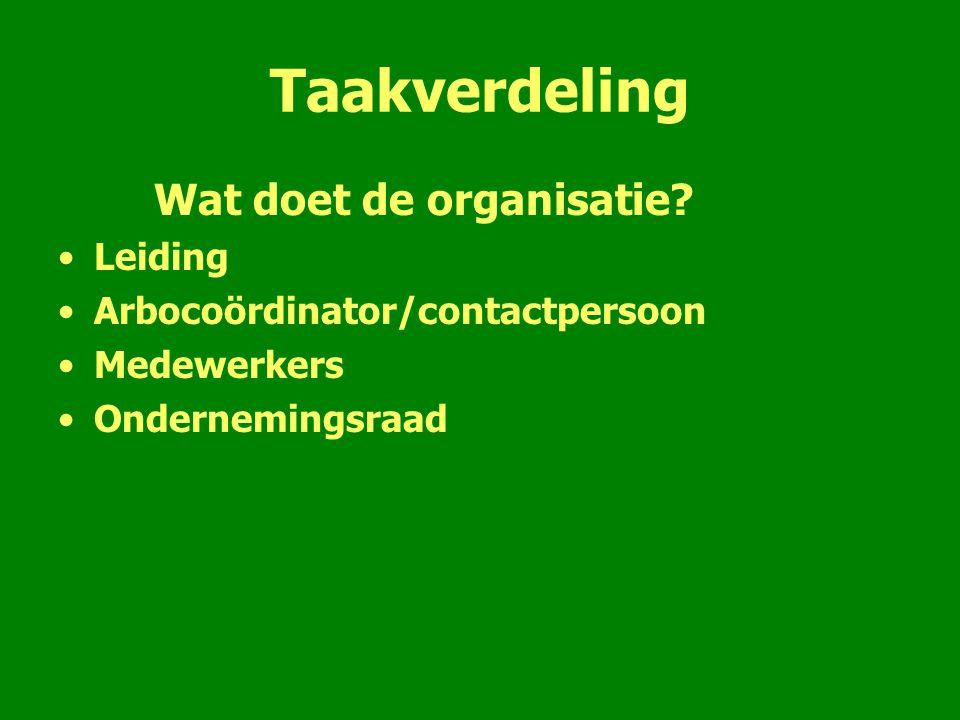 Taakverdeling Wat doet de organisatie? Leiding Arbocoördinator/contactpersoon Medewerkers Ondernemingsraad