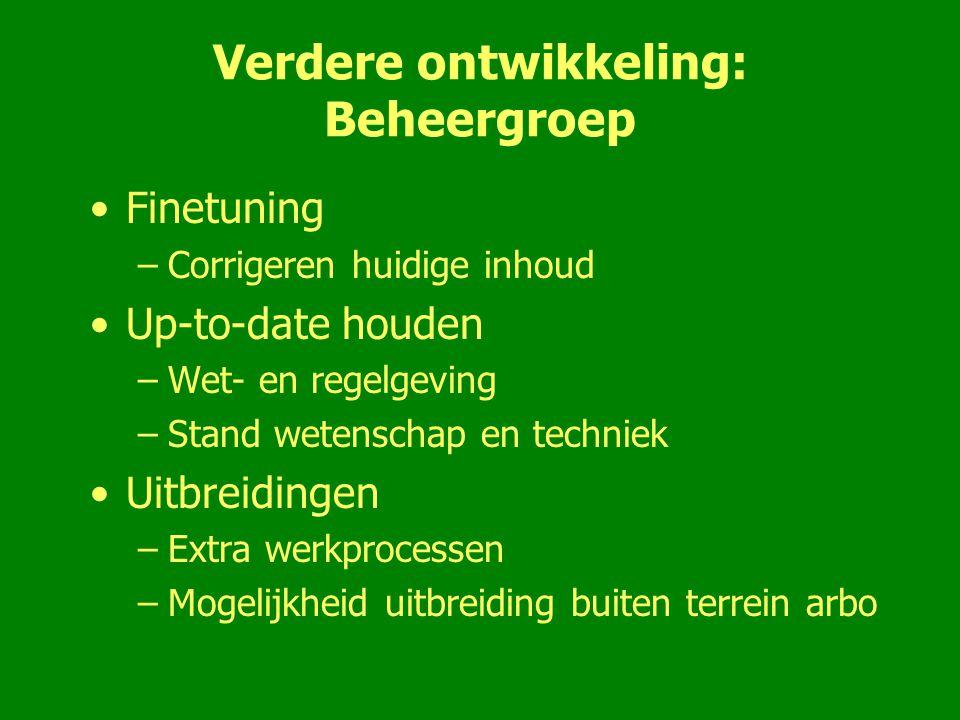 Verdere ontwikkeling: Beheergroep Finetuning –Corrigeren huidige inhoud Up-to-date houden –Wet- en regelgeving –Stand wetenschap en techniek Uitbreidi