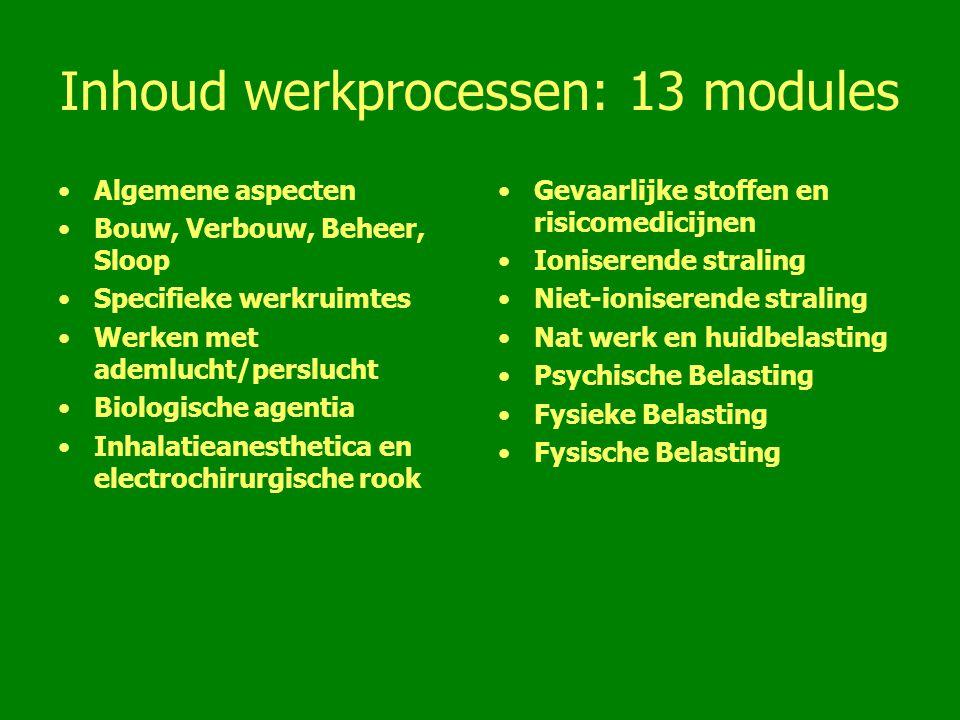Inhoud werkprocessen: 13 modules Algemene aspecten Bouw, Verbouw, Beheer, Sloop Specifieke werkruimtes Werken met ademlucht/perslucht Biologische agen