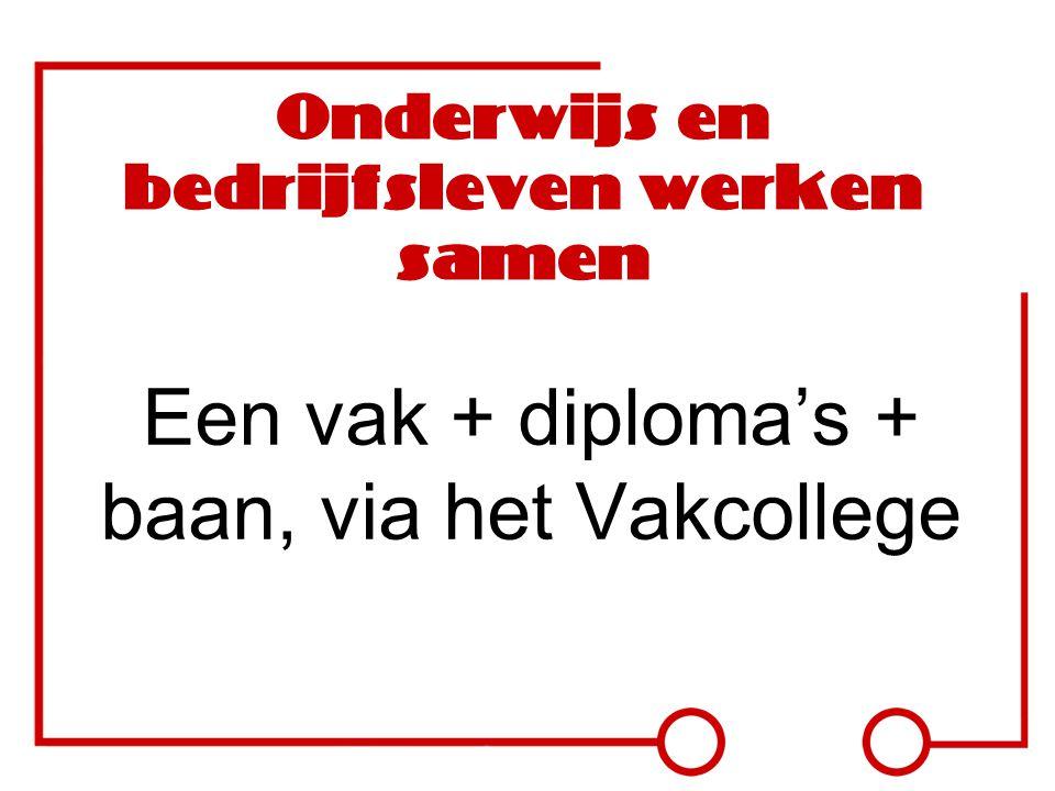 Onderwijs en bedrijfsleven werken samen Een vak + diploma's + baan, via het Vakcollege