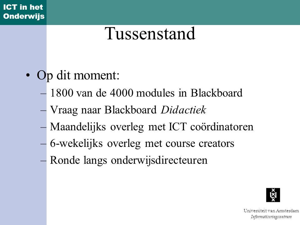 ICT in het Onderwijs Universiteit van Amsterdam Informatiseringscentrum Tussenstand Op dit moment: –1800 van de 4000 modules in Blackboard –Vraag naar Blackboard Didactiek –Maandelijks overleg met ICT coördinatoren –6-wekelijks overleg met course creators –Ronde langs onderwijsdirecteuren