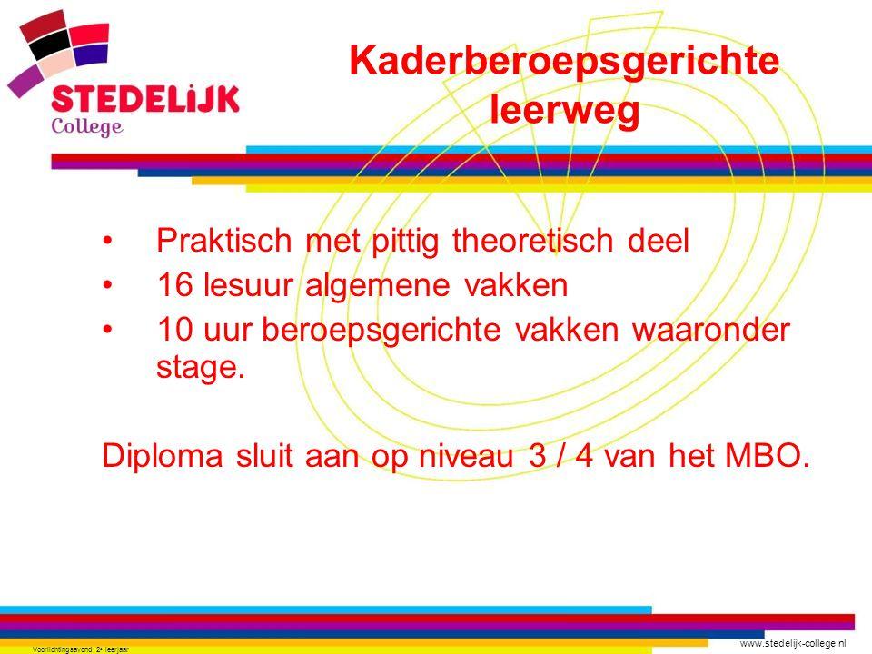 www.stedelijk-college.nl Voorlichtingsavond 2 e leerjaar Praktisch met pittig theoretisch deel 16 lesuur algemene vakken 10 uur beroepsgerichte vakken