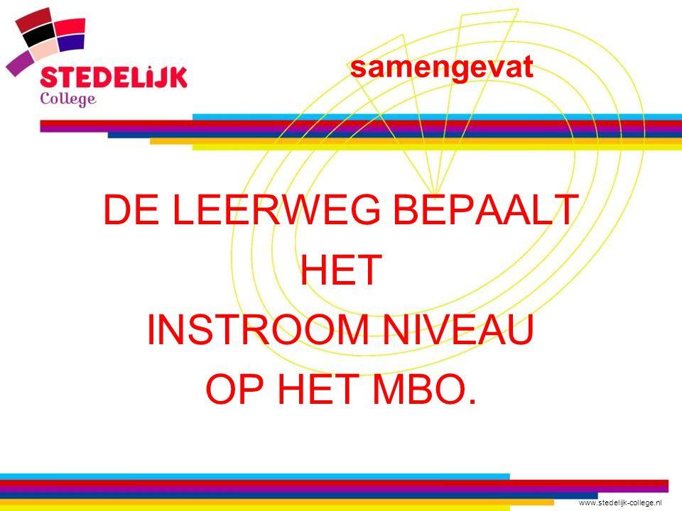 www.stedelijk-college.nl DE LEERWEG BEPAALT HET INSTROOM NIVEAU OP HET MBO. samengevat