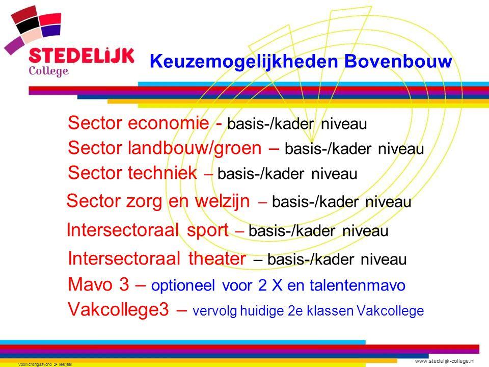 www.stedelijk-college.nl Voorlichtingsavond 2 e leerjaar Sector economie - basis-/kader niveau Sector landbouw/groen – basis-/kader niveau Sector tech
